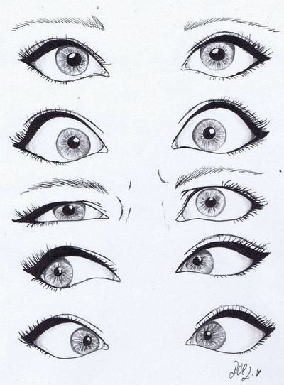 Drawing eyes. The third ones are my constant expression. | Idées ...