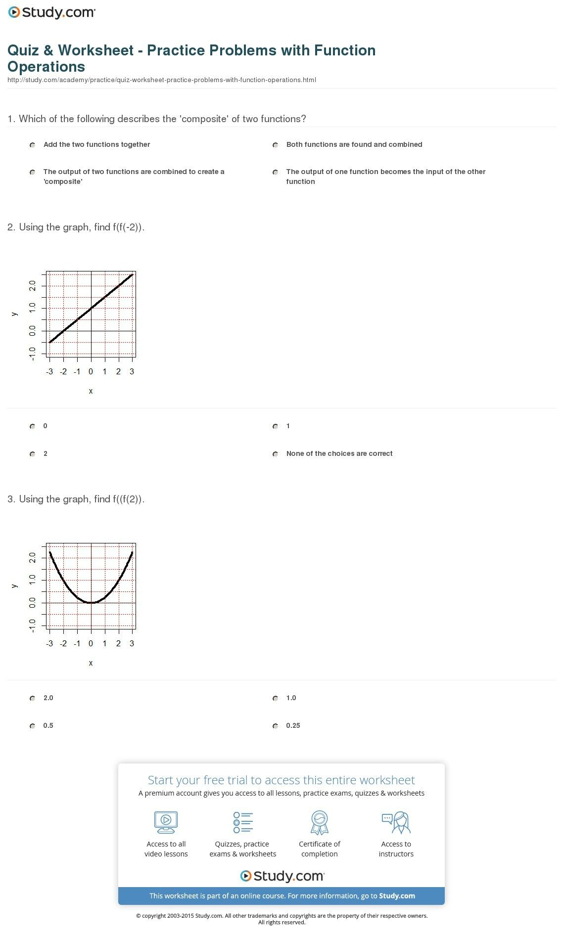 Graphing Inverse Functions Worksheet With Answers