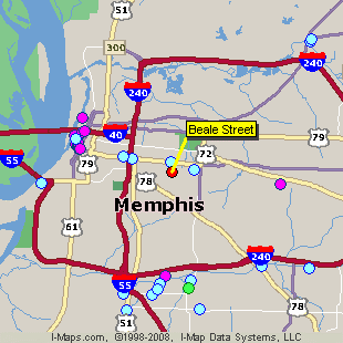 Map Of Beale Street Hotels Near Memphis Tennessee
