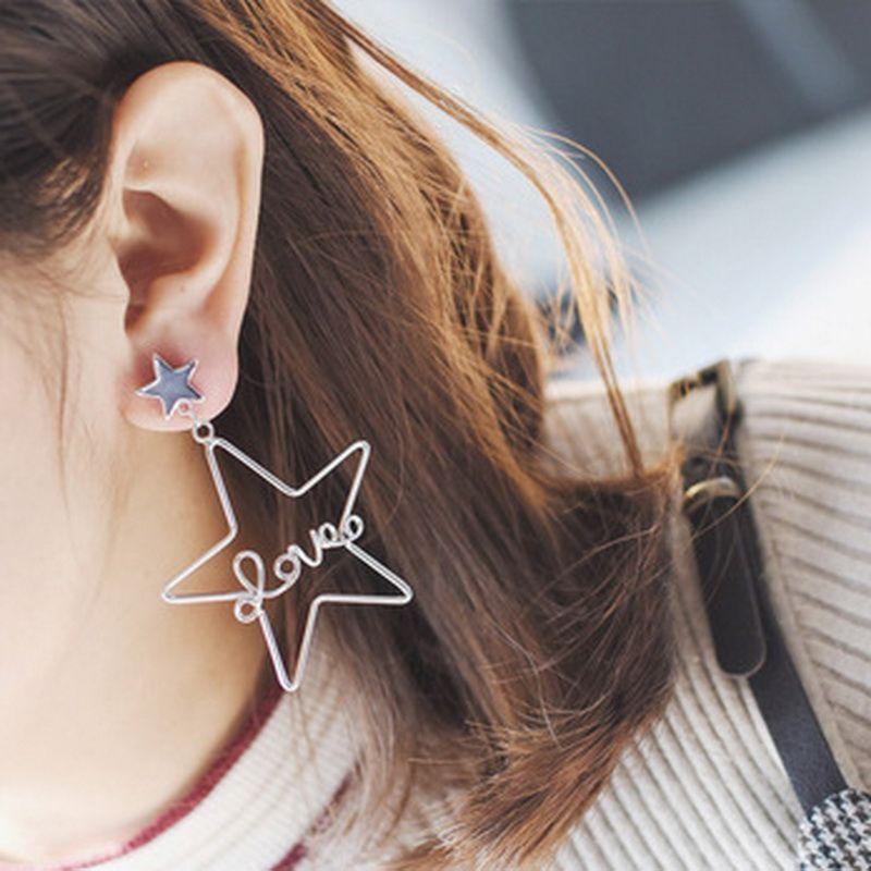 New Arrival Statement Love Letter Star Long Earrings For Women - statement letter