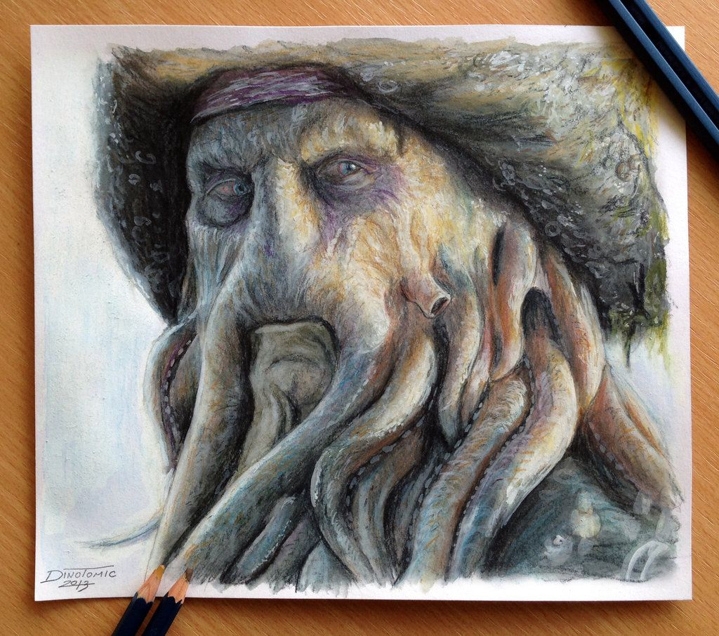 How to draw with colored pencils - Davy Jones Color Pencil Drawing By Atomiccircus Deviantart Com On Deviantart
