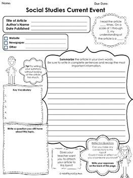 Distance Learning Printable Current Event Worksheet Social Studies 3rd Grade Social Studies Social Studies Middle School Social Studies Education