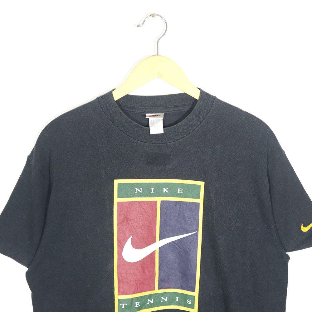 Vintage 90s Nike Tennis T Shirt Colour Black Nike Tennis Big Logo Size Xl Xtra Large Tennis Fashion Tennis Clothes Tennis Shirts [ 1000 x 1000 Pixel ]