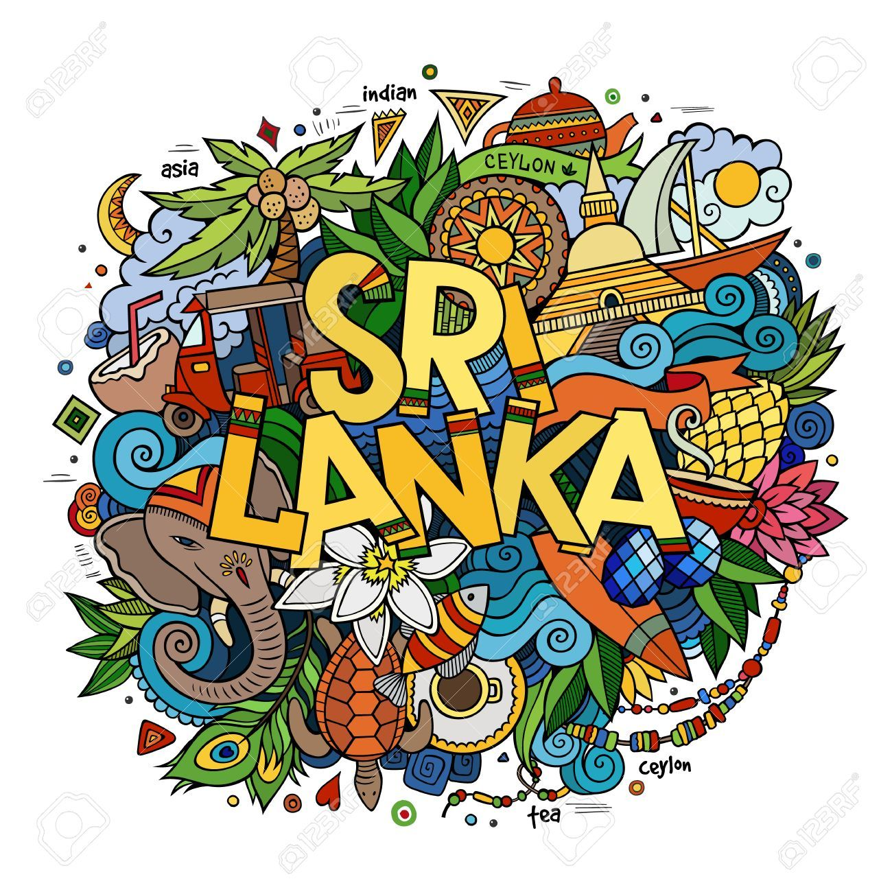 91266f1f Sri Lanka Hand Lettering And Doodles Elements And Symbols Background... Royalty  Free Cliparts, Vectors, And Stock Illustration. Image 49421414.