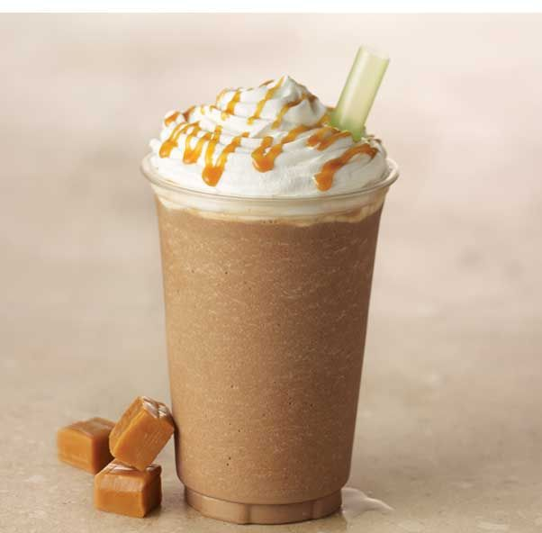 Creamy Caramel And Icy Espresso Blended And Topped With