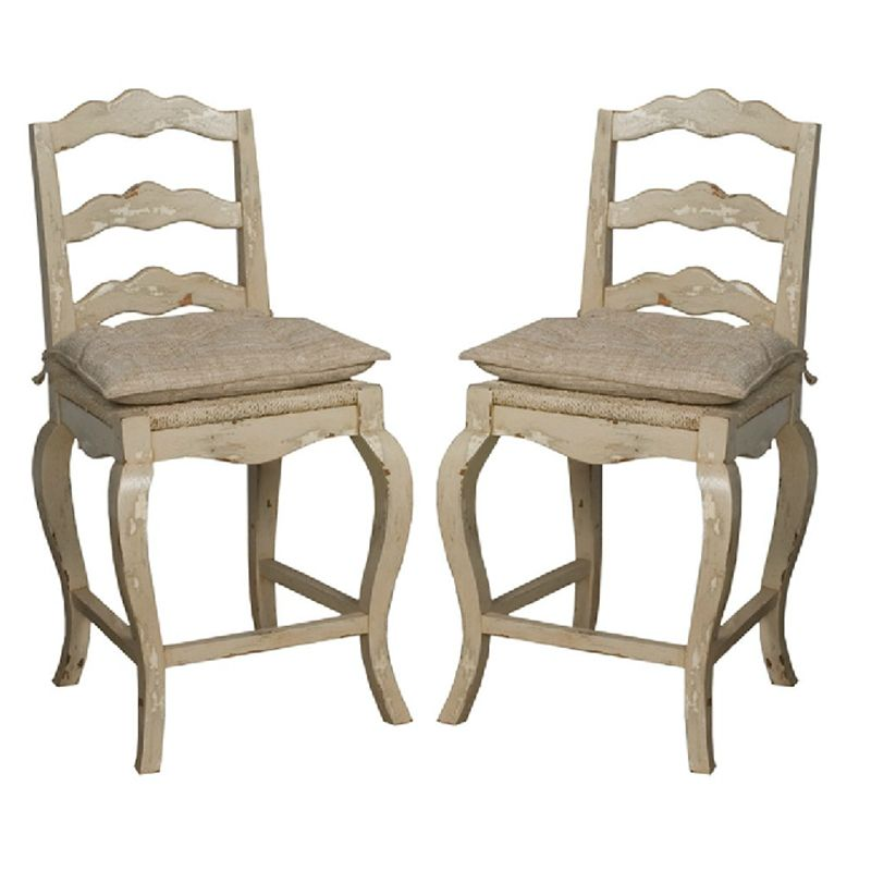 French Provincial Kitchen Stools: Creamy Off White Finish To Go With Any Color Scheme