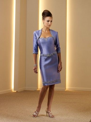 Silk Like Satin Hand-beading and Curved Basque Bodice Slim Knee-length Mother of the Bride Dress