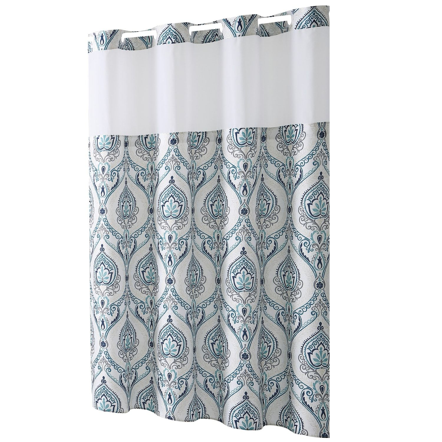 Hookless French Damask Print Coral Shower Curtain Peva Liner Damask Print Hookles Printed Shower Curtain Hookless Shower Curtain Shower Curtains Walmart