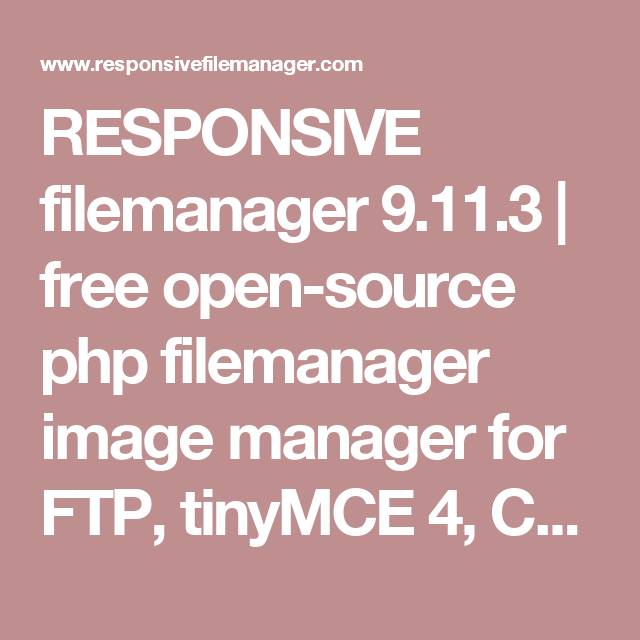 RESPONSIVE filemanager 9 11 3 | free open-source php filemanager