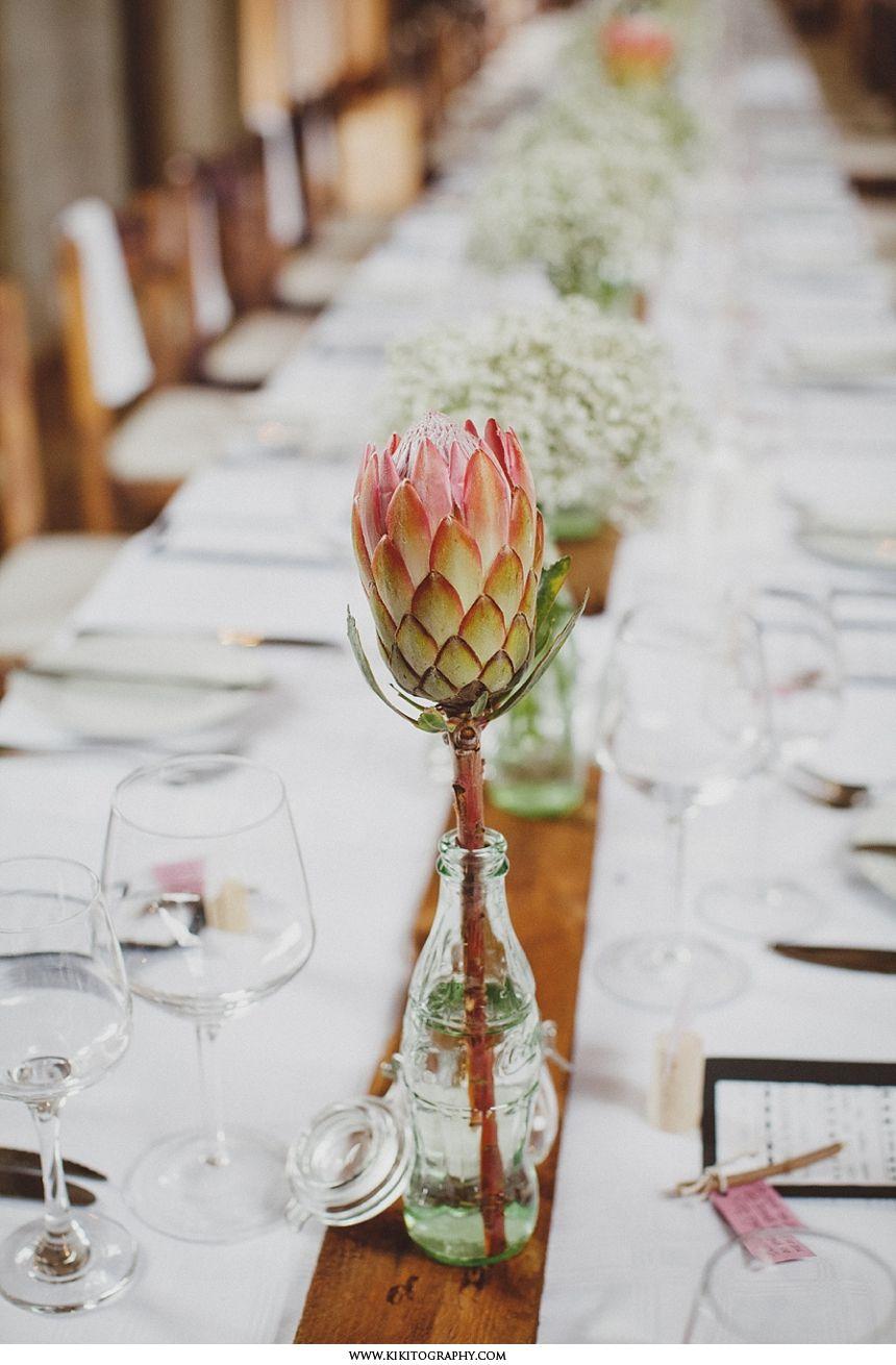 South Africa Farm Wedding Protea Wedding Wedding Centerpieces Wedding Flower Arrangements