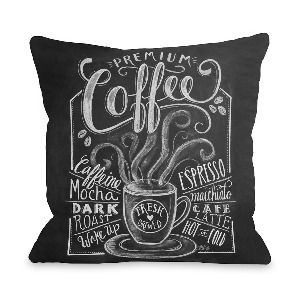 One Bella Casa Premium Coffee Pillow in Gray and White