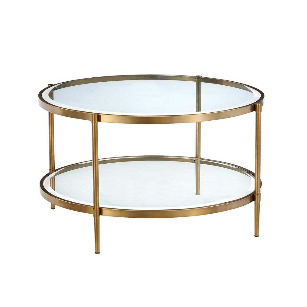 Boyel Living Round Coffee Table Gold Round Gold Coffee Table Round Coffee Table Tempered Glass Table Top