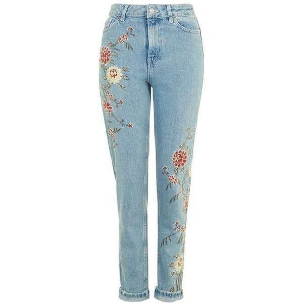 TopShop Moto Floral Embroidered Mom Jeans (£58) ❤ liked on Polyvore featuring jeans, pants, mom jeans, highwaist jeans, tapered leg jeans, blue jeans, folded jeans and high-waisted jeans