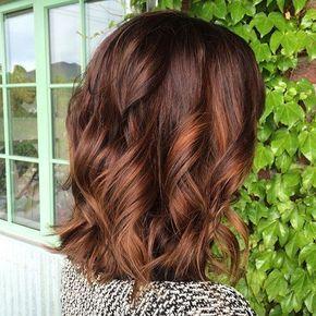 12 Braun Lob Mit Kupfer Strahnen Fall Favorites Braune Haare Mit