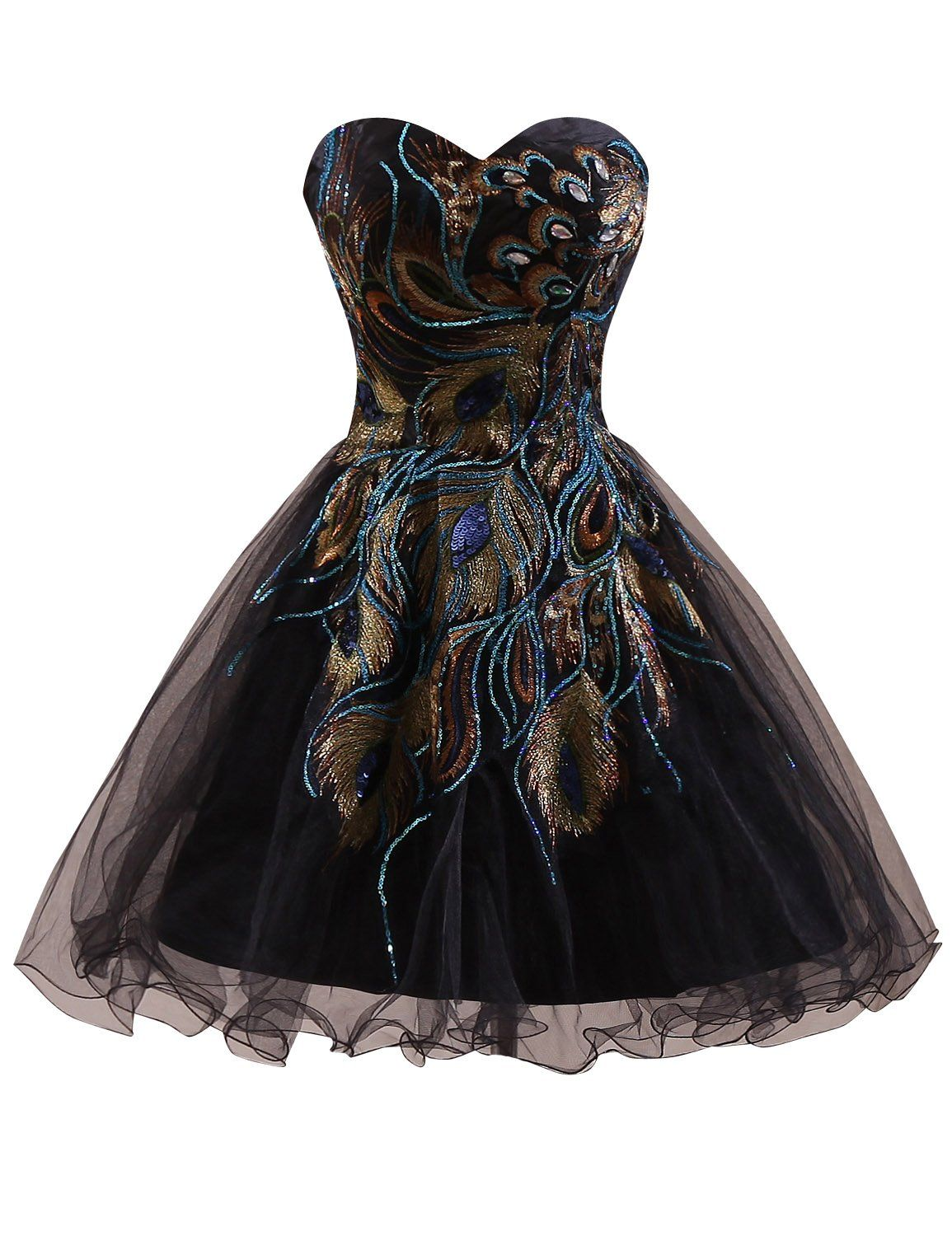 Clearbridal womens short black peacock prom party homecoming dress