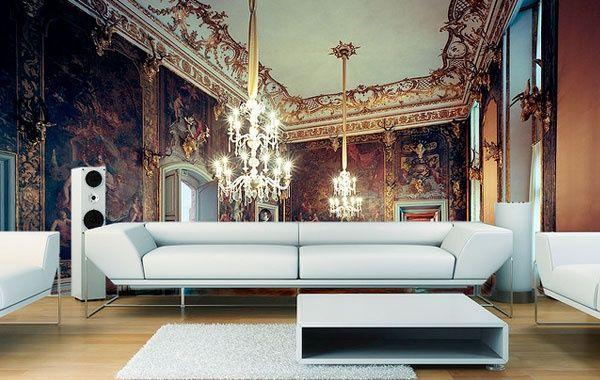 Mit Einer Schönen Fototapete Kann Man Das Wohnzimmer Größer Wirken Lassen.