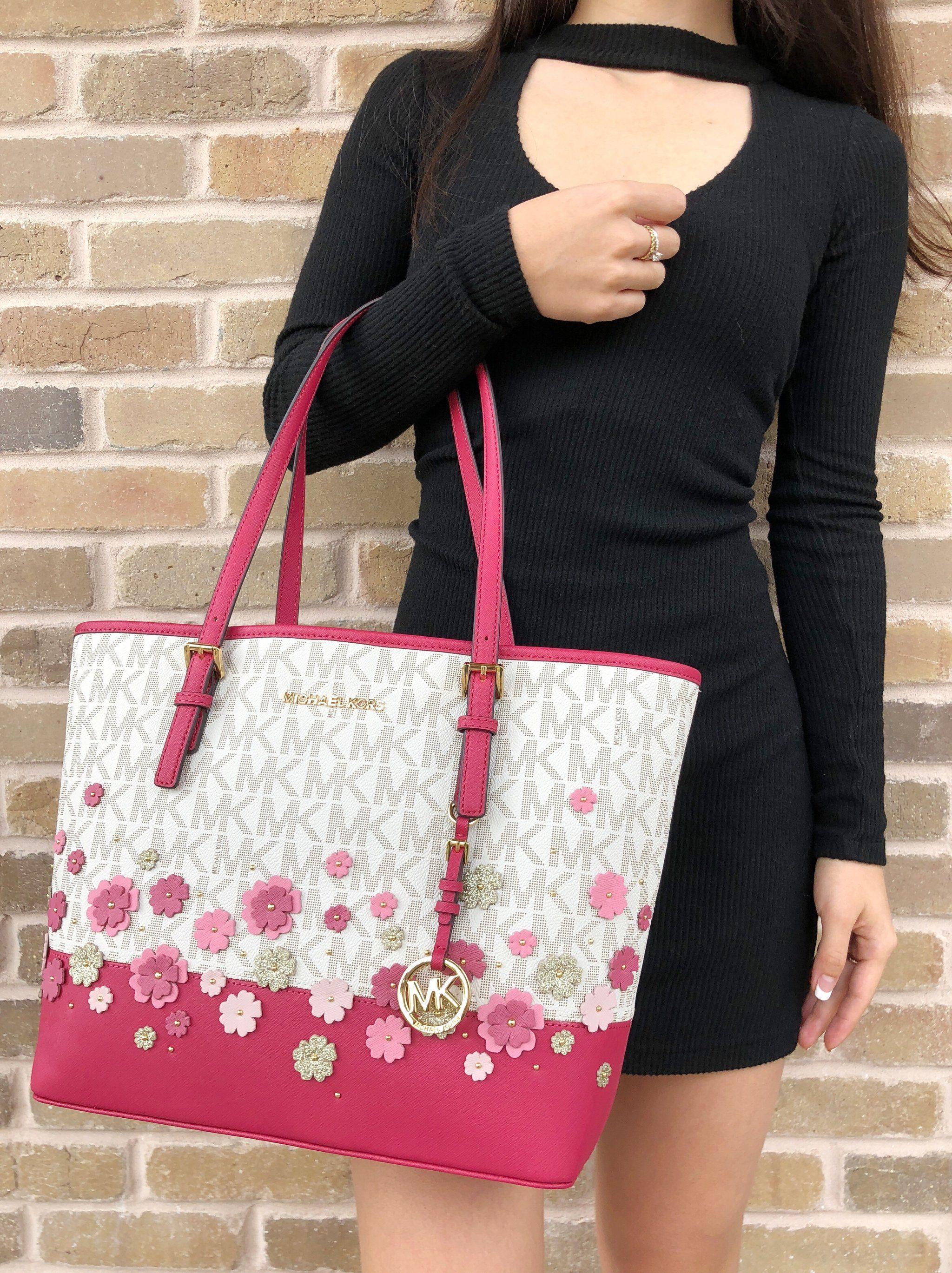284fce74dd59c7 Michael Kors Medium Carryall Tote Pink Vanilla MK Floral Glitter ...