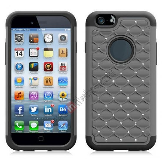 Bling Diamond Hard   Silicone Shock Proof Case For 4.7 iPhone 6 - Grey US$5.69