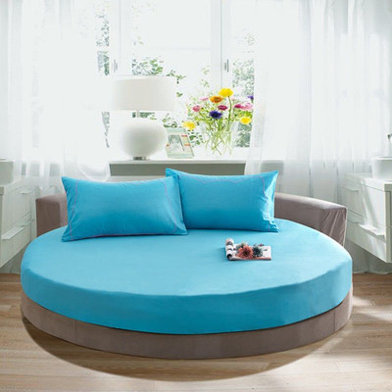 1pc Hoeslaken Color Round Bed Sheets Solid Color 100 Cotton Round