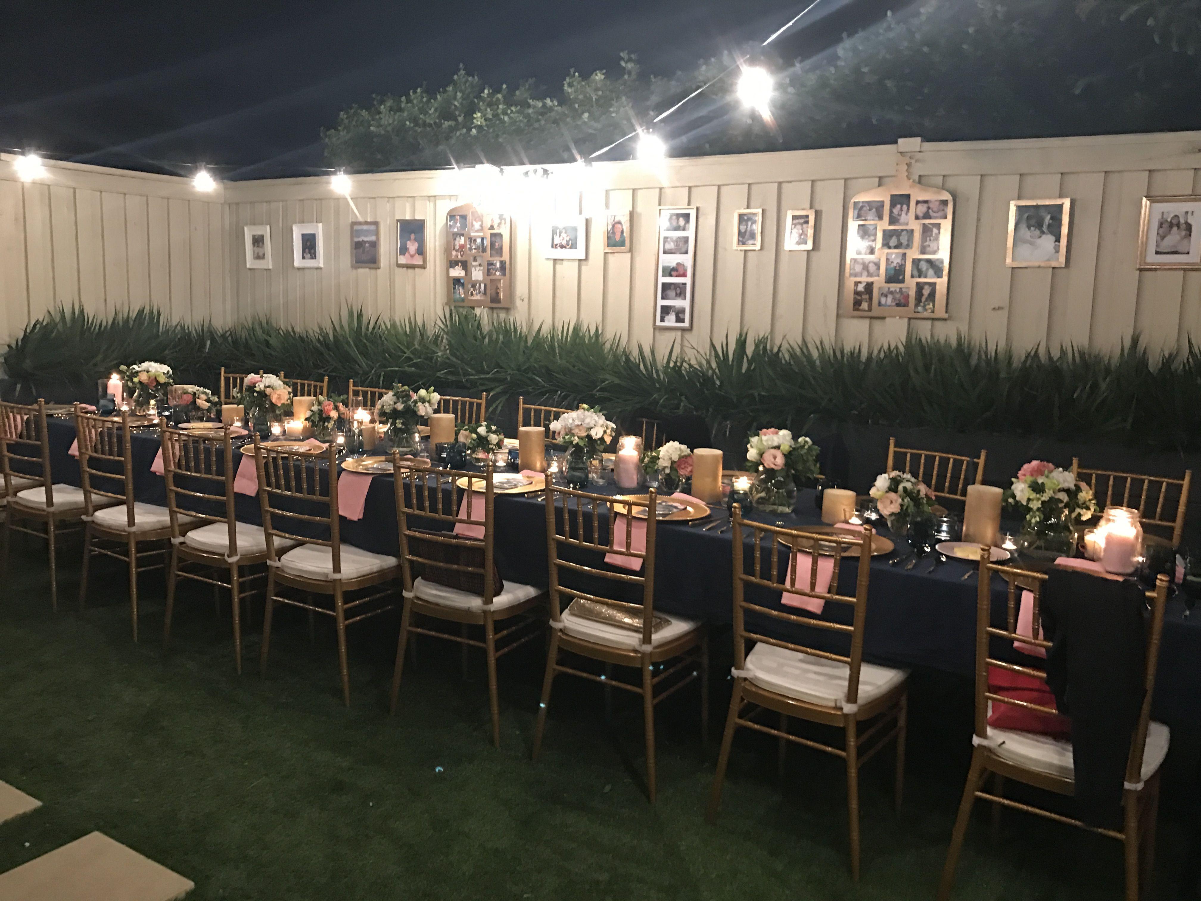 30th Birthday Dinner Party Gold Navy Pink Theme Birthday
