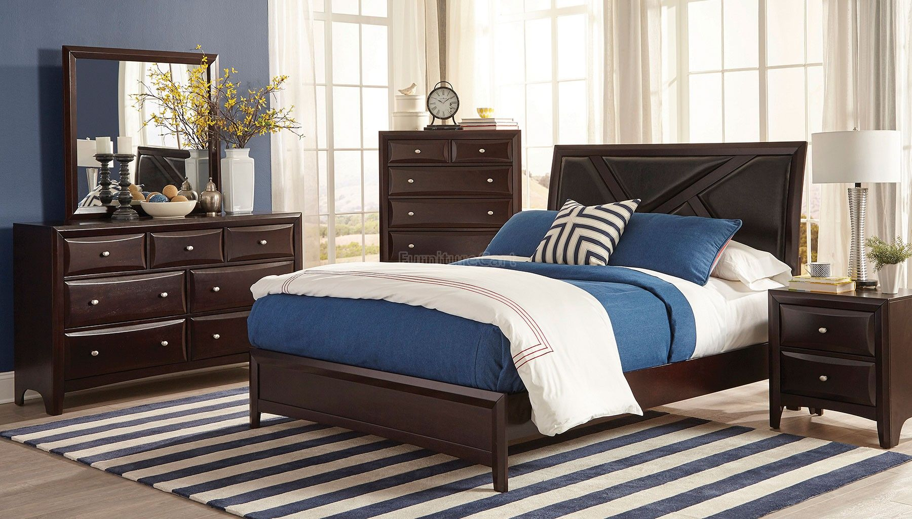 Rossville Sleigh Bedroom Set Furniture, Sleigh bedroom