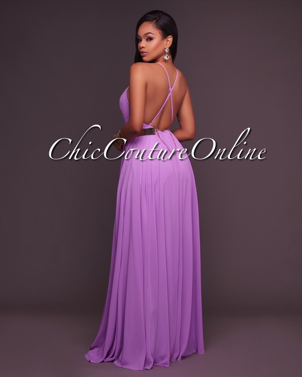 Chic Couture Online - Divine Lilac CrissCross Back Maxi Dress, (http ...