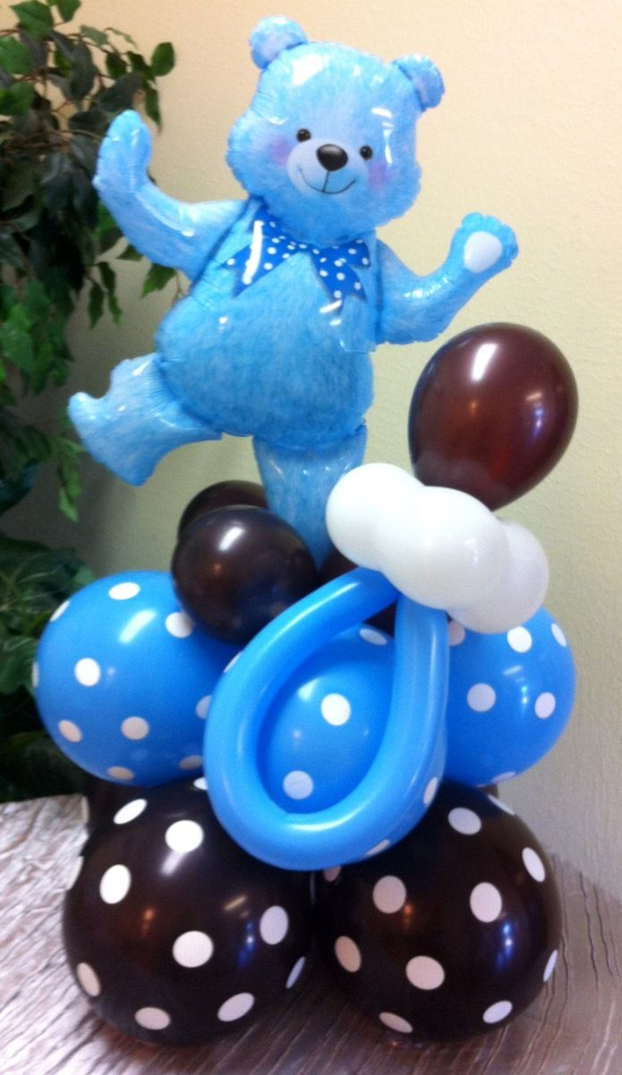 Balloon Teddy Bear Centerpiece with pacifier | Globos | Pinterest ...