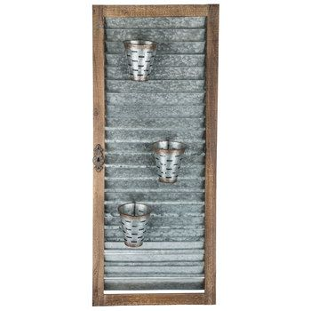 Galvanized Metal Shutter Wall Decor With Olive Buckets Shutter Wall Decor Metal Shutters Galvanized Wall Decor