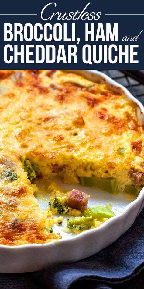 Cheesy Crustless Quiche with Broccoli and Ham