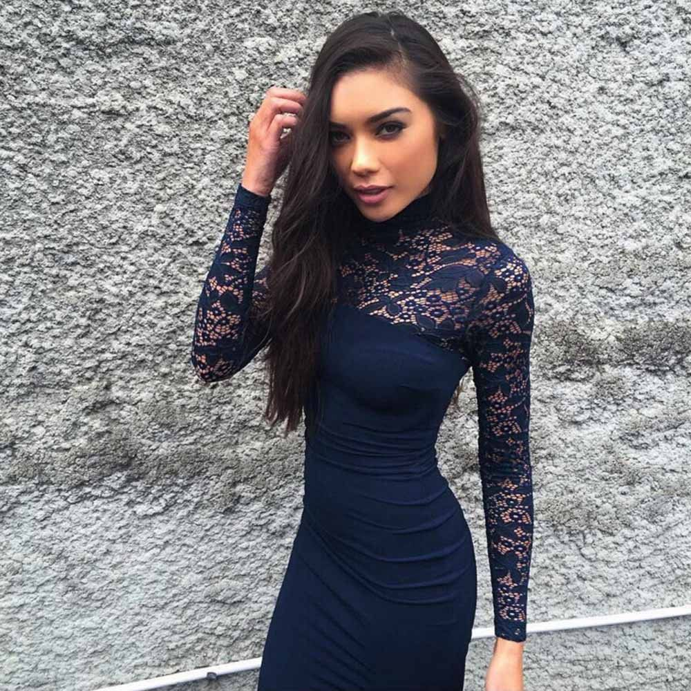 e40009fa1a4 Turtleneck Long Sleeve Lace Midi Sexy Club Bandage Bodycon Dress Autumn  White Red Black Women Elastic Elegant Party Dresses
