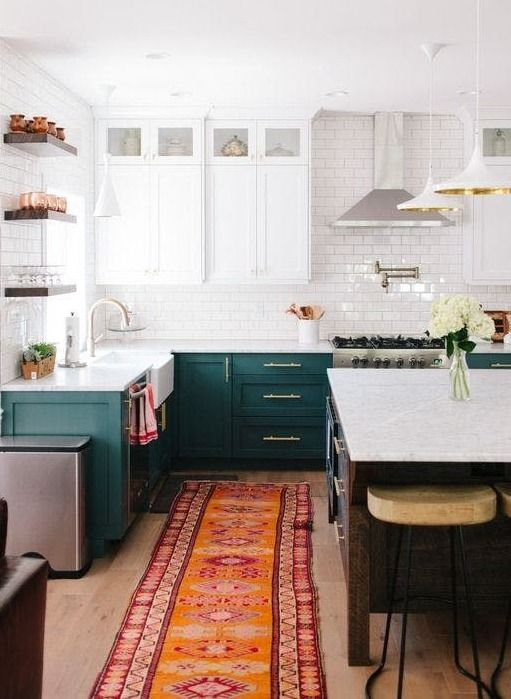 The Kitchen Cabinet Color I\'m Currently Obsessed With | Teal ...