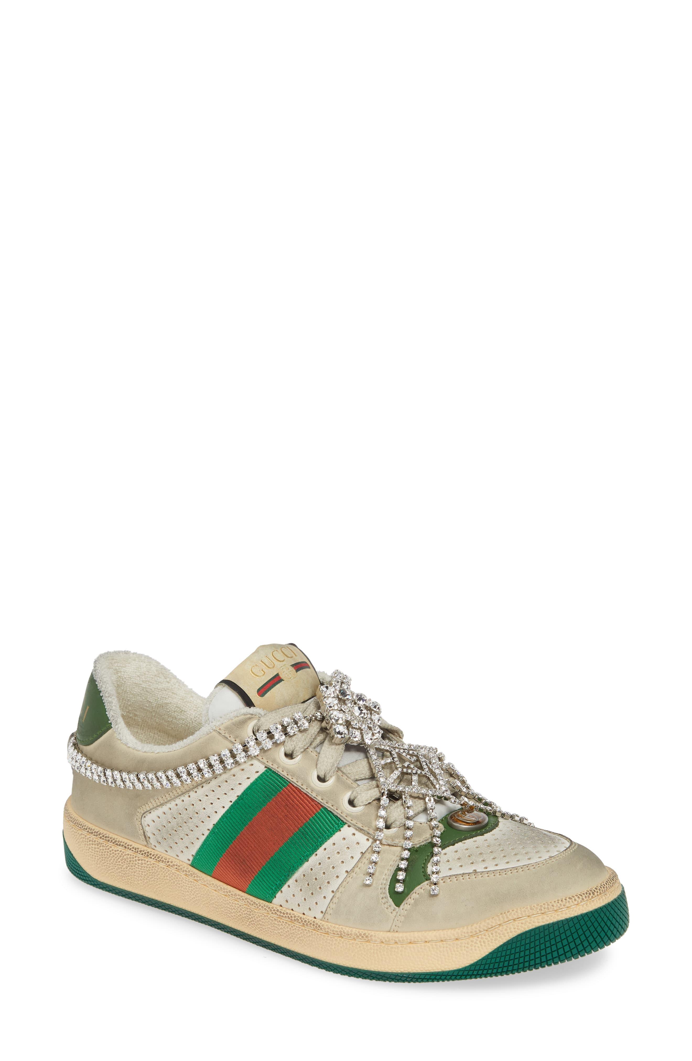 1e7697b0f Women's Gucci Screener Jeweled Low Top Sneaker, Size 10.5US / 40.5EU - Beige