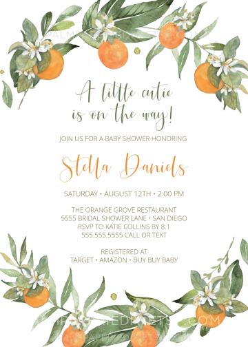 Oranges Baby Shower Invitation Instant Cutie