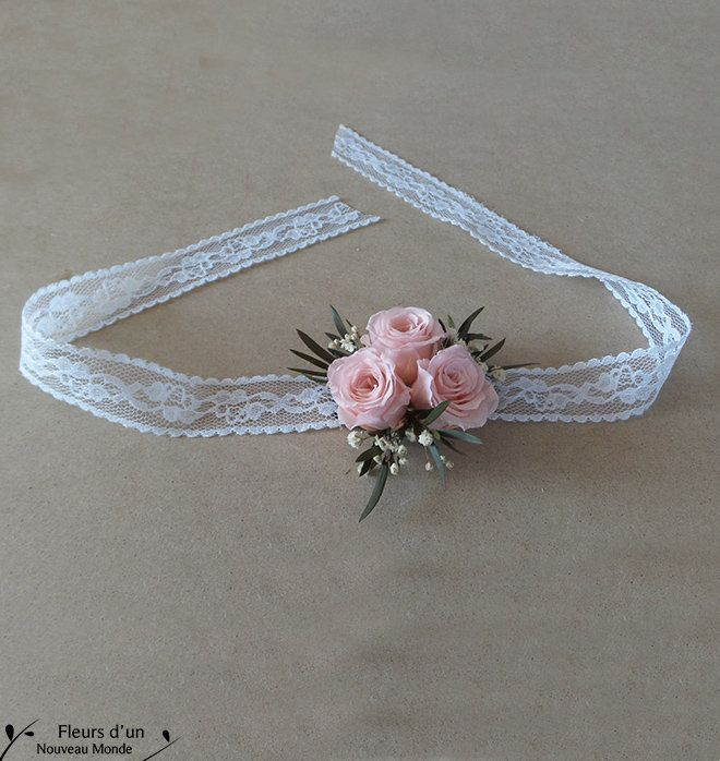 """DIY bracelet """"Romance"""" preserved flowers, lace bride bracelet with natural stabilized roses, witnesses and bridesmaids wedding floral gifts"""