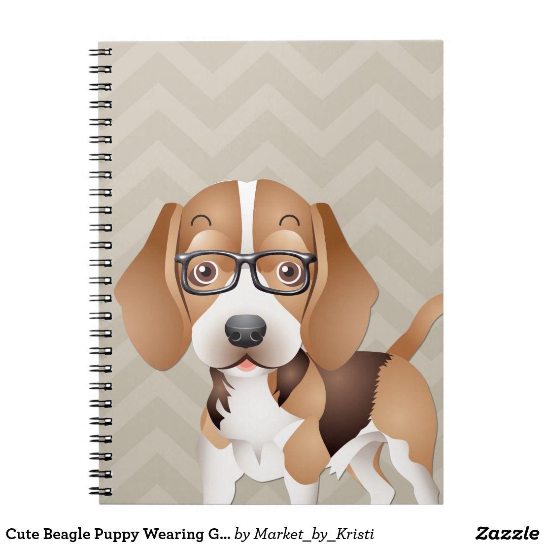 Cute Beagle Puppy Wearing Glasses Notebook Zazzle Com Cute