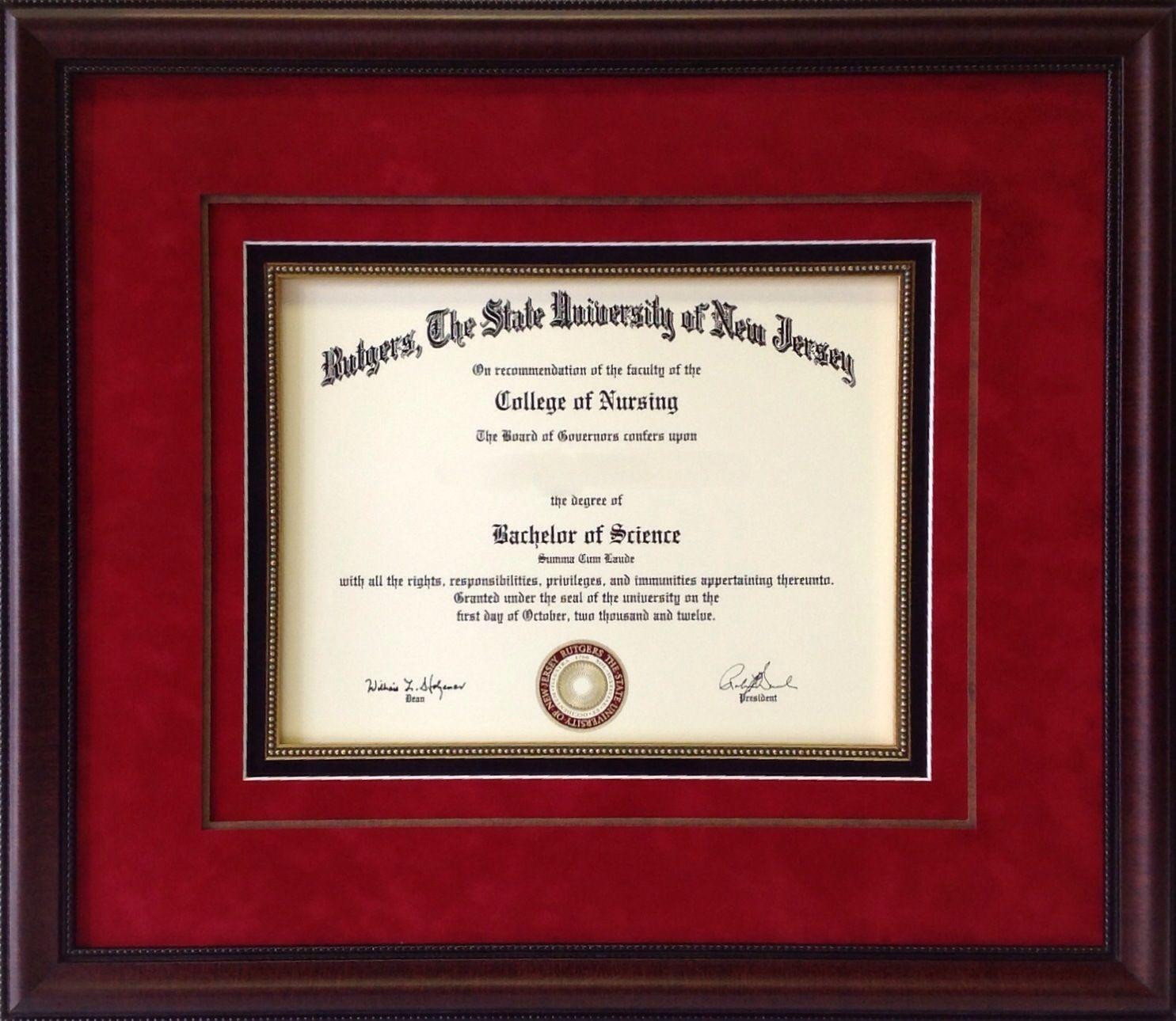 Custom Framed Rutgers University Degree Framing Of