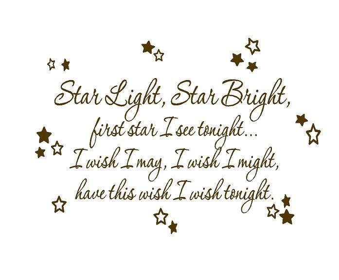 Star Light Star Bright >> Star Light Star Bright Baby Nursery Rhyme Wall Decal Poem Saying