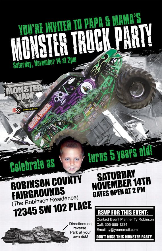 Monster truck invitations custom designed with photo of your child birthday party ideas monster truck invitations custom designed with photo of your child grave digger show style filmwisefo Gallery