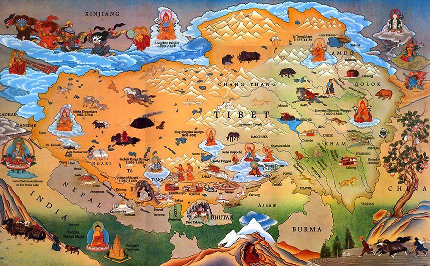 Illustrated Tibet map