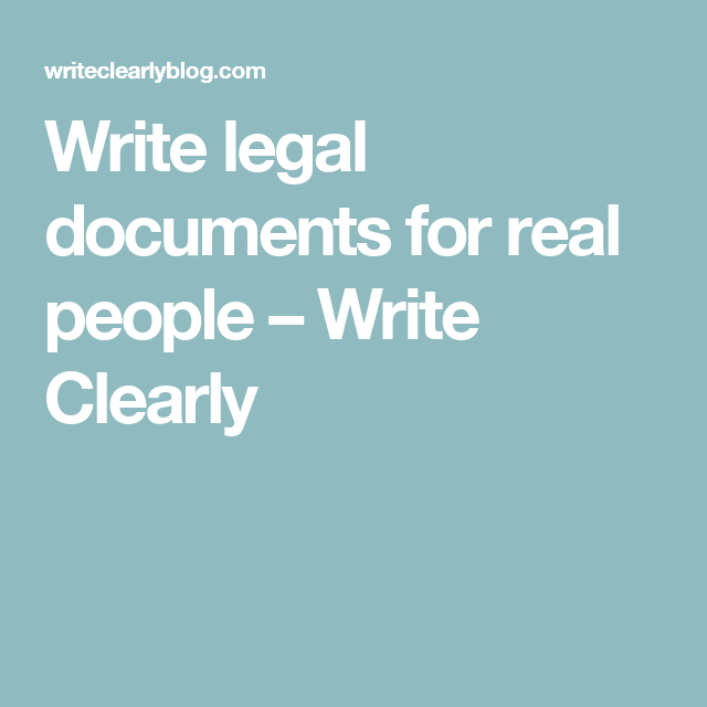 Write Legal Documents For Real People