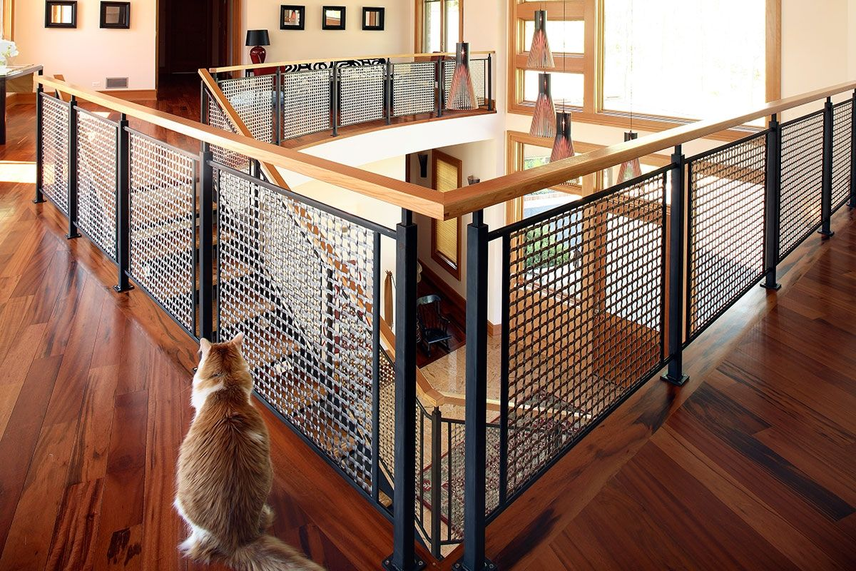 wire mesh deck railing outdoor deck lake forest residence rigid woven wire mesh railings stairway infill panels banker