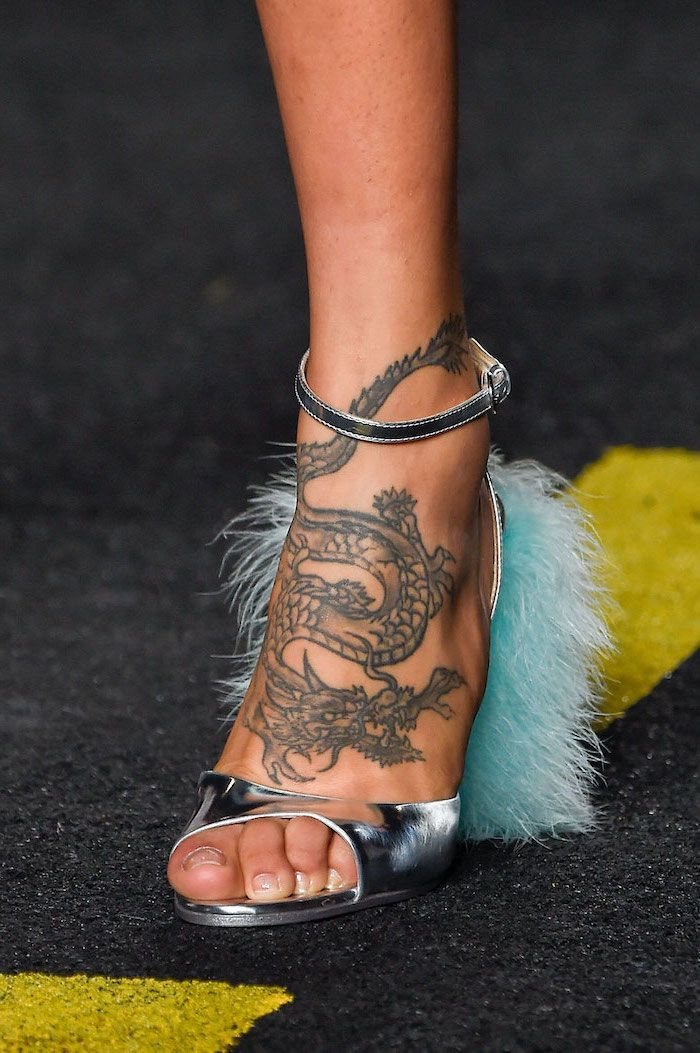 large dragon on the leg woman wearing silver open toe heels with blue feathers chinese dragon tattoo #style #shopping #styles #outfit #pretty #girl #girls #beauty #beautiful #me #cute #stylish #photooftheday #swag #dress #shoes #diy #design #fashion #Tattoo