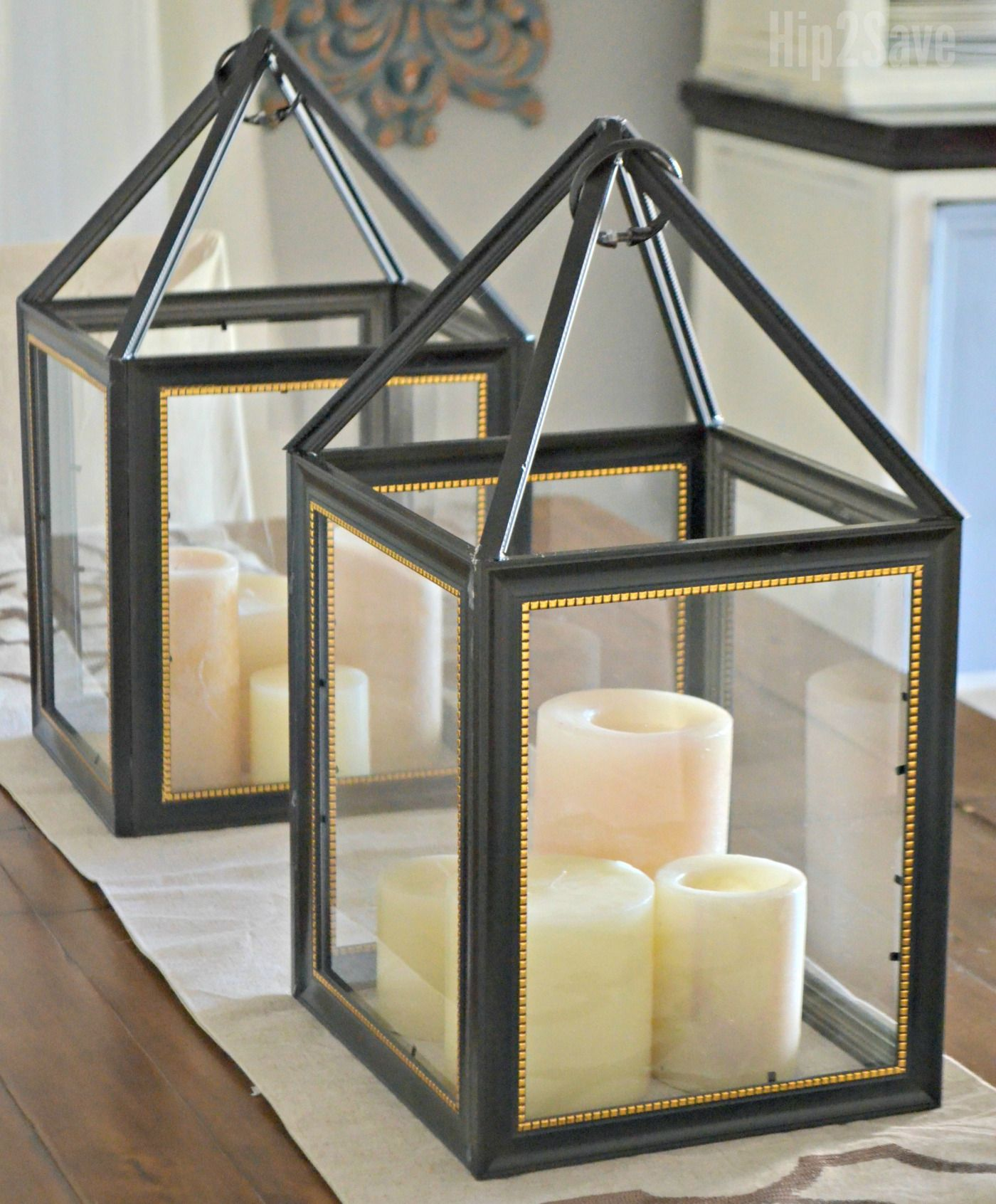 Christmas Tree Shop Picture Frames: DIY Dollar Tree Picture Frame Lanterns