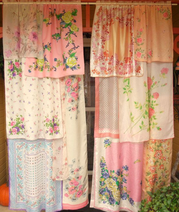 Tea Towel Kitchen Curtains: Turn A Tea Towel Or Handkerchief Collection Into Curtains