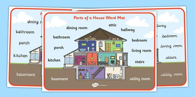 Parts Of A House Word Mat Theme Pinterest