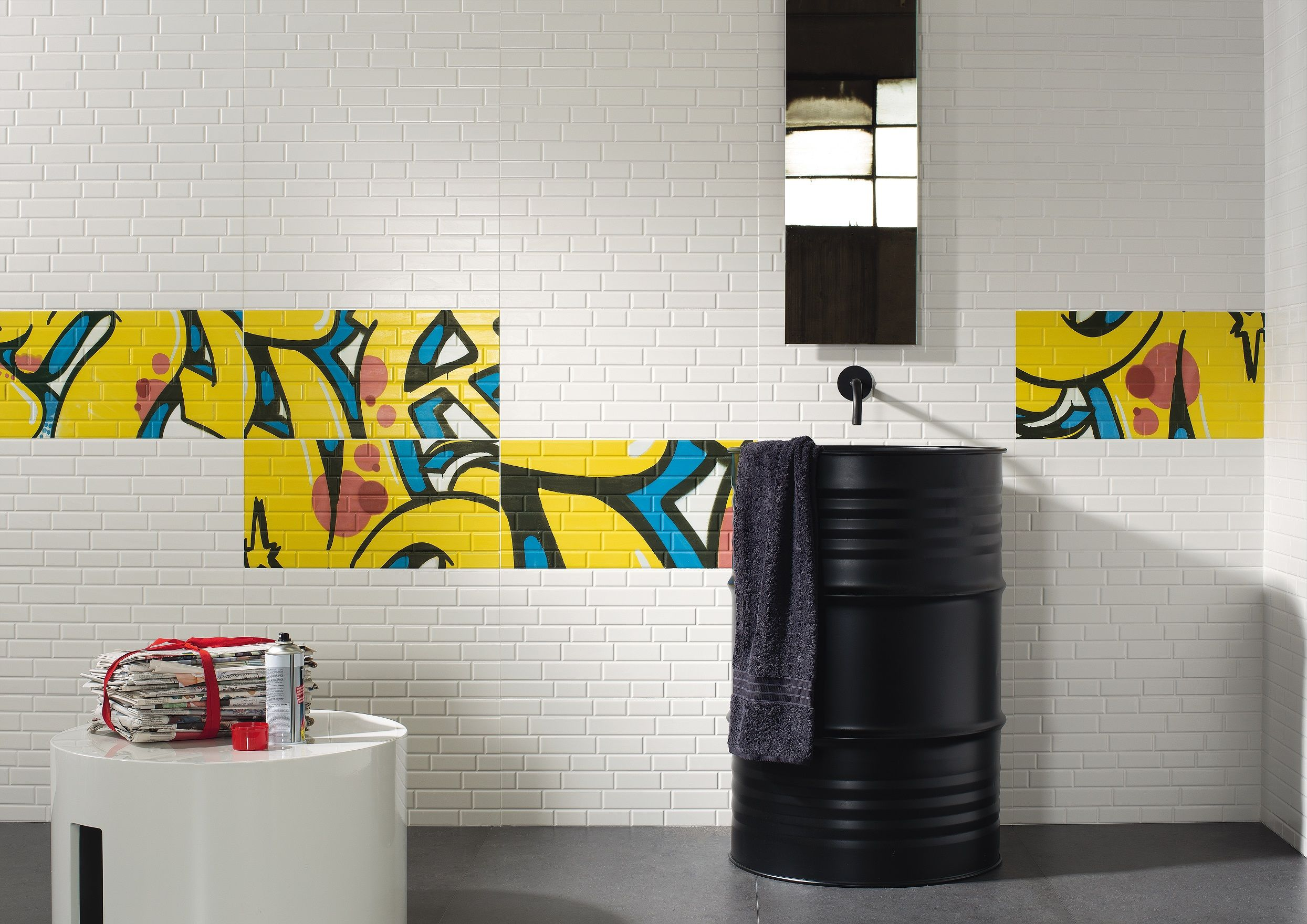 Be bold with modern graffiti art tiles in bright colours