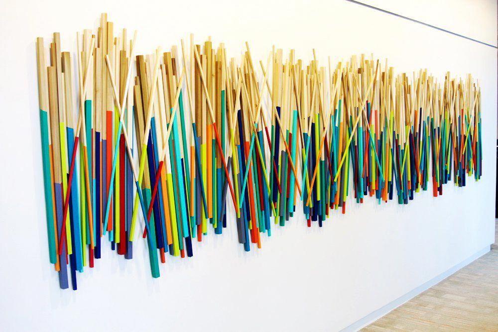Image Of Modern Art Wood Wall Stick Sculpture Wood Wall Art