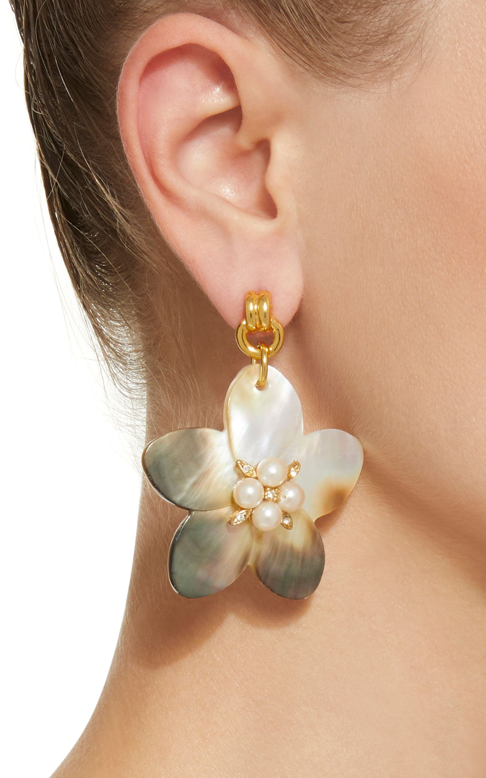 Muse Mother Of Pearl And Crystal Earrings By Brinker Eliza Moda Operandi Crystal Earrings Earrings Turquoise Earrings