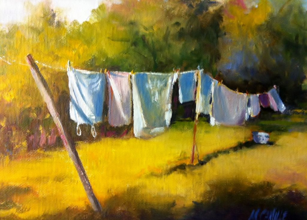Camille Day Clothesline At La Bonne Etoile Oil Painting Entry