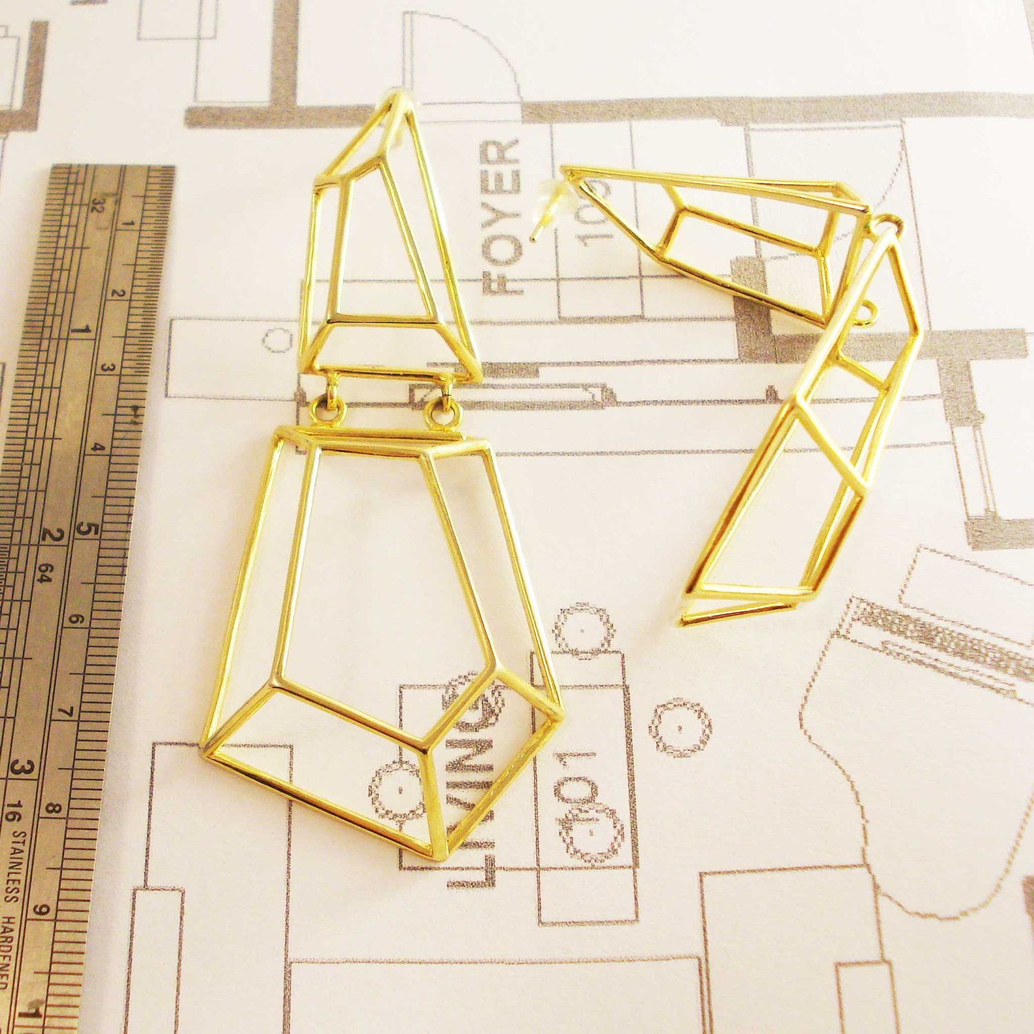 Architectural Structure Geometric Gold Earrings.  via Etsy.